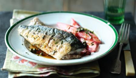 Fresh mackerel with roasted rhubarb