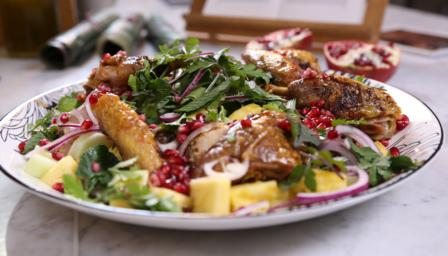 Honey-glazed guinea fowl with pomegranate and pineapple