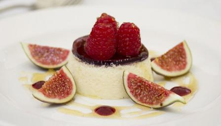 Honey mousse with port jelly and fresh raspberries