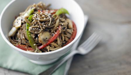 Japanese vegetable stir-fried noodles (Yasai yaki soba)
