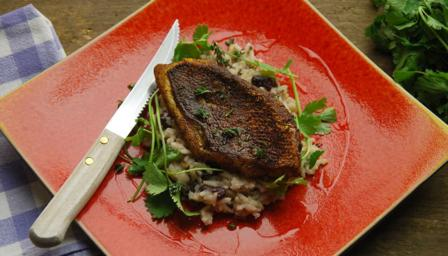 Jerk snapper with rice and peas
