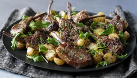Lamb cutlets with mint, chilli and golden potatoes