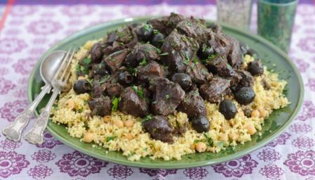 Lamb, olive and caramelised onion tagine