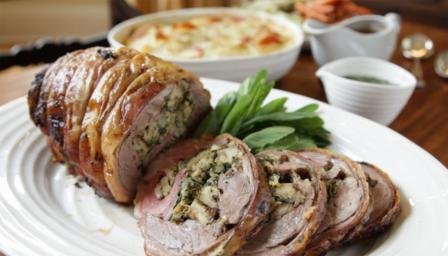 Lemon-and-herb stuffed shoulder of lamb