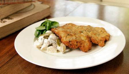 Lemon and thyme pork schnitzel with potato salad