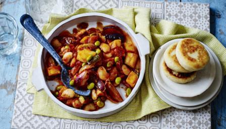 Mediterranean bean stew with potato griddle cakes