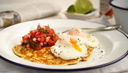 Mexican sweetcorn pancakes, poached eggs and salsa