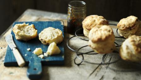 Mustard, bacon and caramelised onion scones