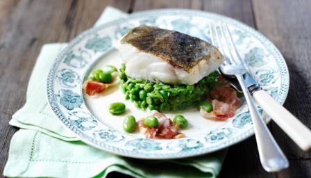 BBC - Food - Recipes : Pan-fried cod with minted peas, broad beans and ...