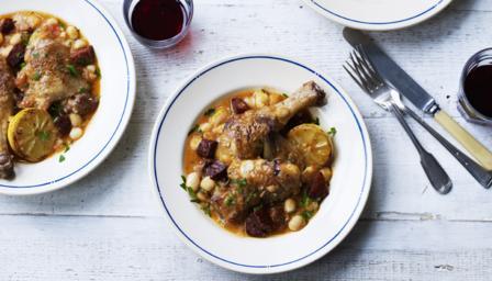 Chicken with chorizo bean stew