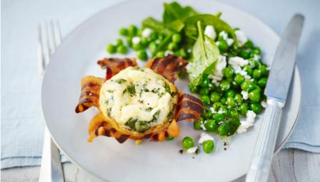 Pancetta-baked eggs with a minted pea and feta salad