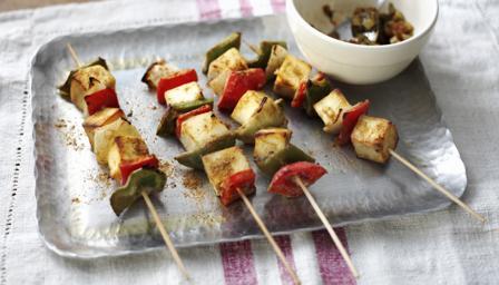 Paneer and vegetable skewers