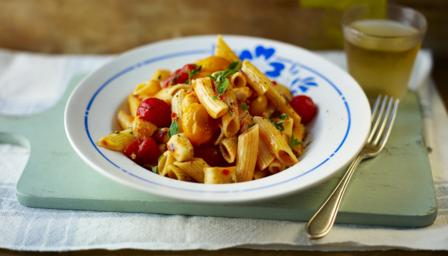 Penne with halloumi and cherry tomatoes