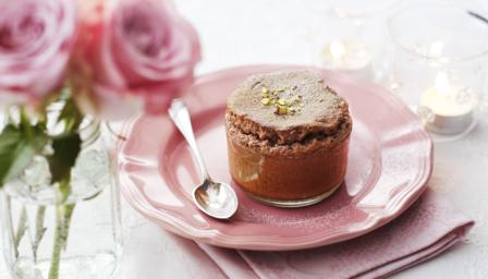 Pistachio and chocolate soufflé