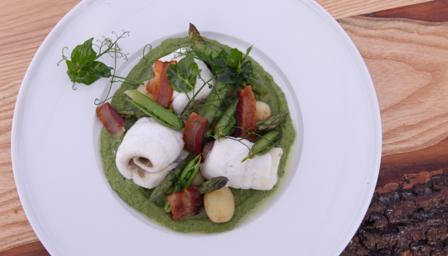 Plaice with pea purée, bacon, new potatoes and asparagus