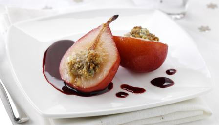 Poached pears with Stilton and walnuts