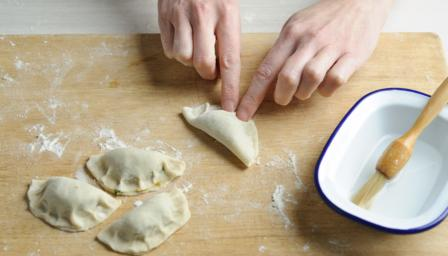 Chinese pork potsticker dumplings