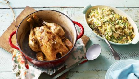 Pot-roast chicken with potato ragù