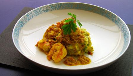 Prawn curry with potato fritters
