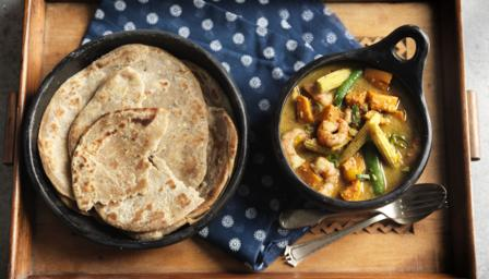 ... , sweet potato and lime curry with chilli and black pepper roti bread