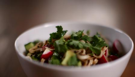 Radish and sesame soy noodle salad
