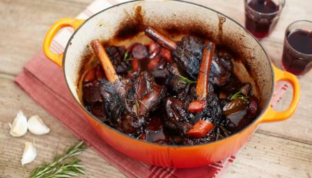 Rioja-braised lamb shanks with chorizo and garlic