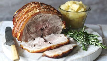 roast pork, bramley apple sauce