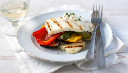 Roasted vegetable stack with griddled halloumi cheese