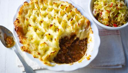 Roux family shepherds pie with stir-fried cabbage