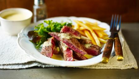 Rump steak, chips and barnaise sauce