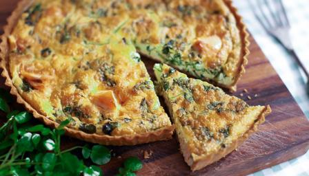 Salmon and watercress tart