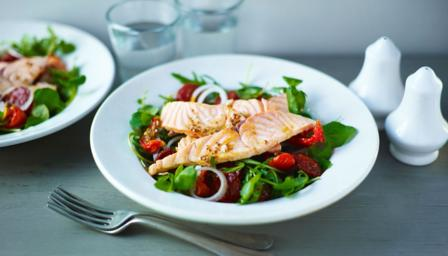 Seared salmon and chorizo salad