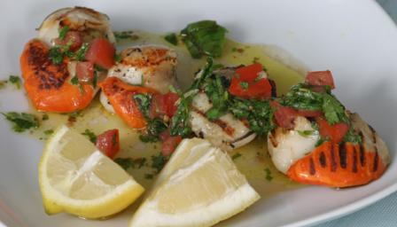 Seared scallops with sauce vierge