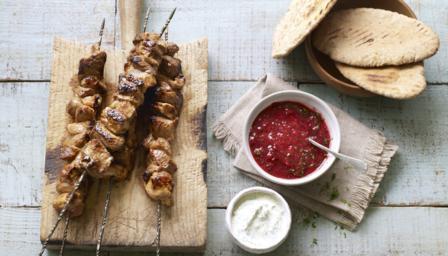 Shashlik kebabs with sour cream dip and plum sauce