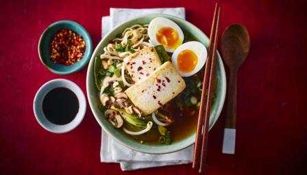 Simple miso, tofu and mushroom ramen
