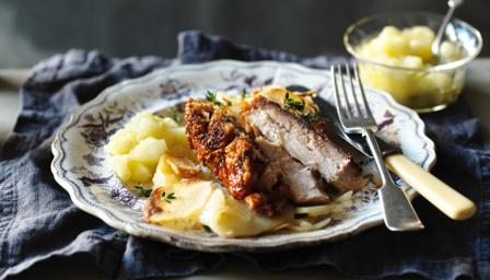 Slow-roasted pork belly with boulangère potatoes