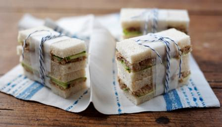 Smoked mackerel pate and cucumber sandwich