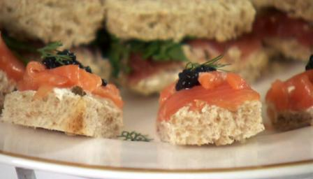 Smoked salmon and caviar finger sandwiches