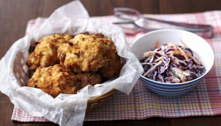 Southern-fried chicken and coleslaw