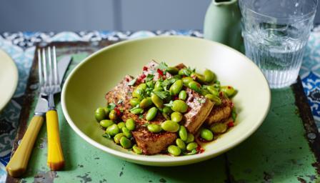 Spicy tofu and edamame beans