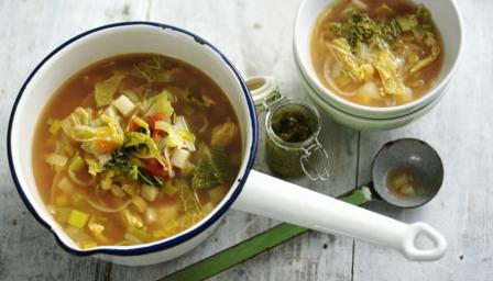 Spring minestrone soup with pesto