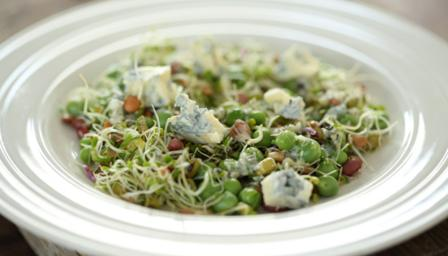 Sprouting vegetables, peas and blue cheese