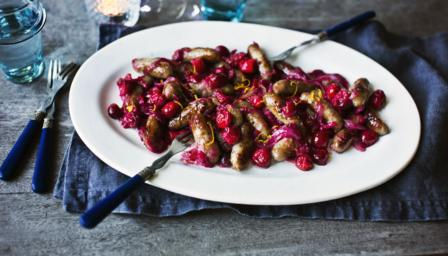 Sticky cranberry sausages
