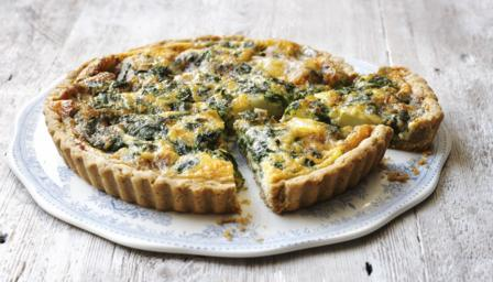 Stilton, spinach and new potato quiche with walnut pastry