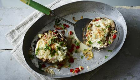 Stuffed Portobello mushrooms with blue cheese