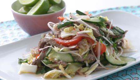 Pin Thai Beef Salad Served In Cucumber Cups Or Mini Cake on Pinterest