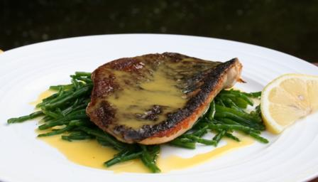 Trout with samphire and beurre blanc