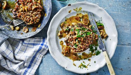 Walnut-crusted pork chops with figs