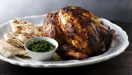 Whole tandoori chicken with coriander chutney