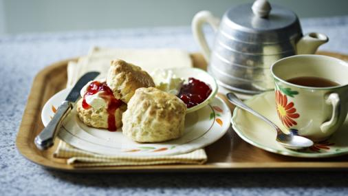 Mary Berry scones with strawberry jam and whipped cream